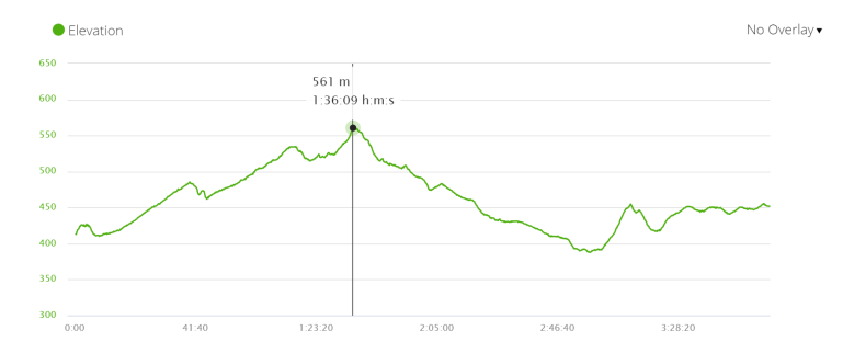Elevation profile stage 24 of the Camino