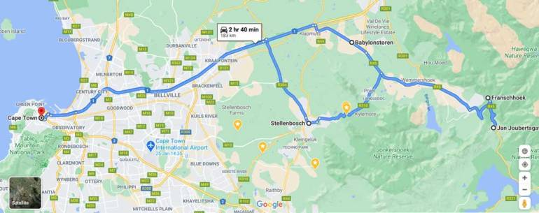 A driving route of the Cape Winelands scenic road trip