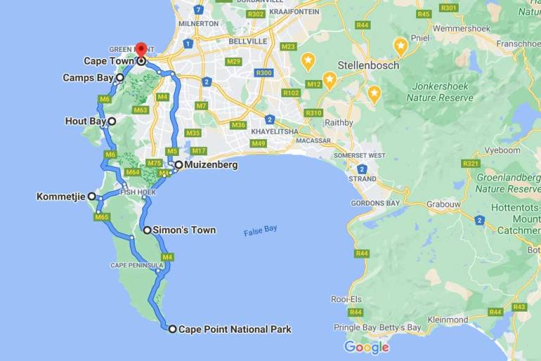 A route map of the Cape Peninsula scenic drive