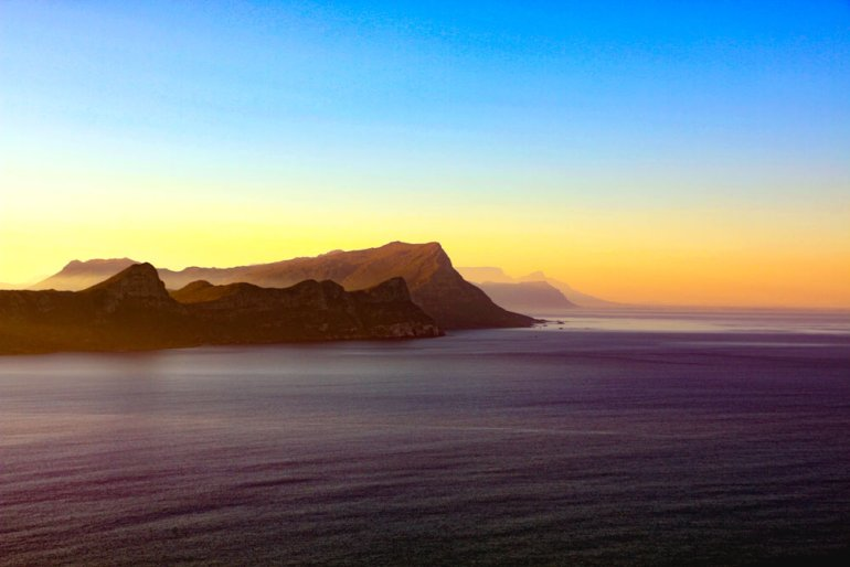 The sea scenery at the sunrise on the Cape Point scenic drive