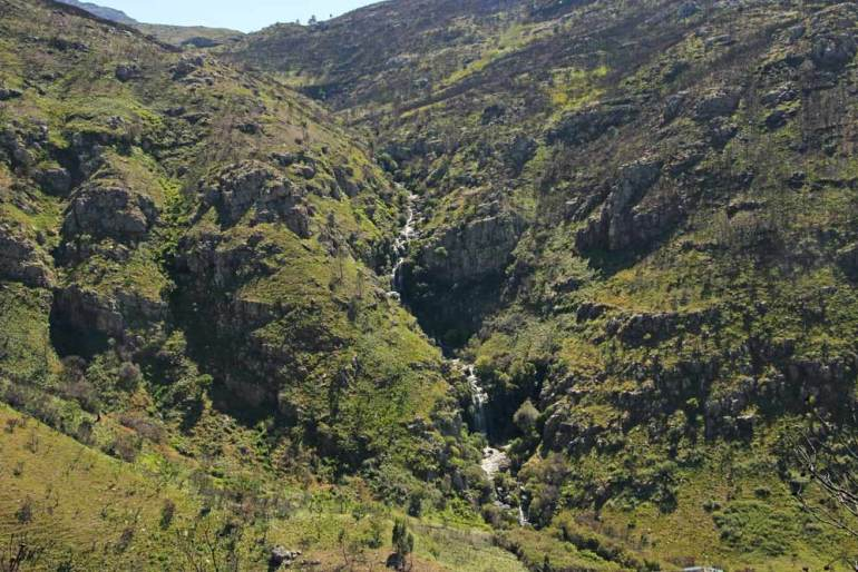 A picturesque waterfall in Du Toitskloof mountains Cape Town
