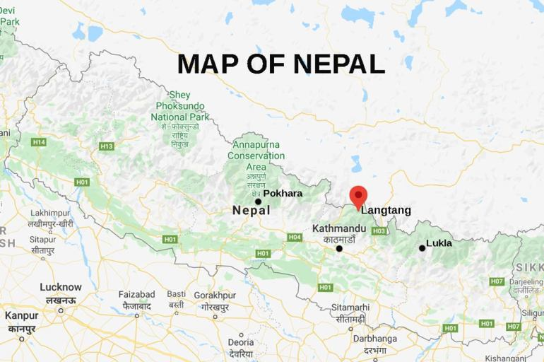A map of Nepal with Langtang on it