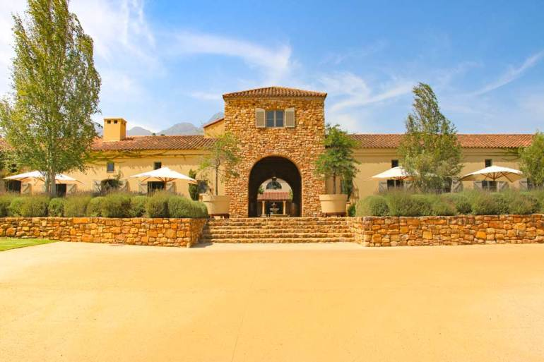 The entrance to Waterford Wine farm in Stellenbosch, a little corner of Italy in Cape Town