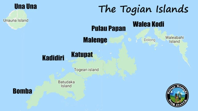 the togian islands map stingy nomads