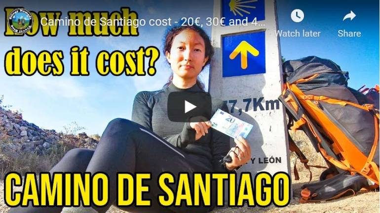 YouTube thumbnail of the video about the cost of the Camino