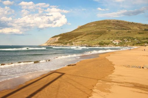 A sunny day on the beach in the Basque Country, Spain