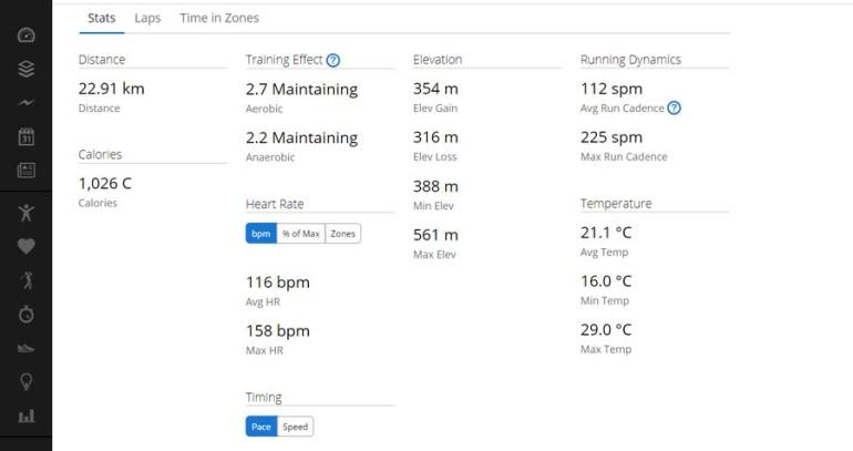 My stats (pace, distance, calories) from my GPS Fenix watch