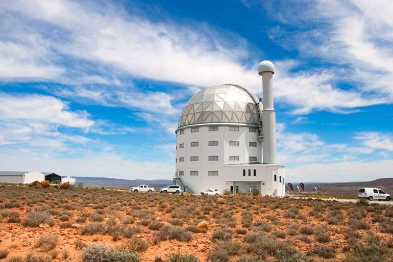 One of the building with a telescope in Sutherland Observatory, tourist destination in Northern Cape