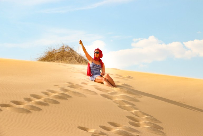 Alya enjoying the scenery in Witsand, one of tourist destinations in the Northern Cape