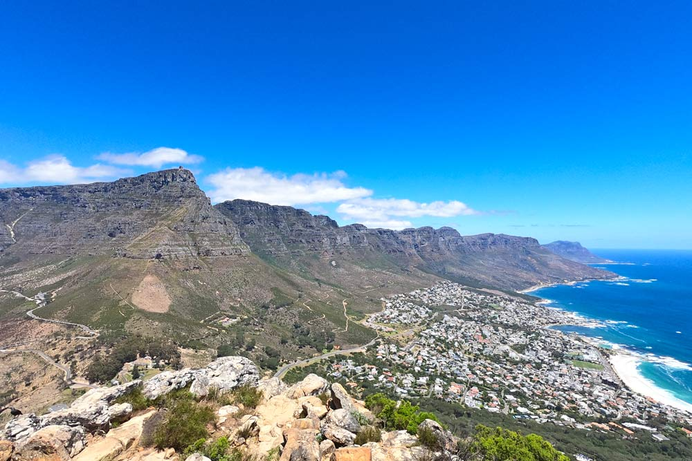 Beautiful view of Table Mountain and Camps Bay from Lion's Head trail