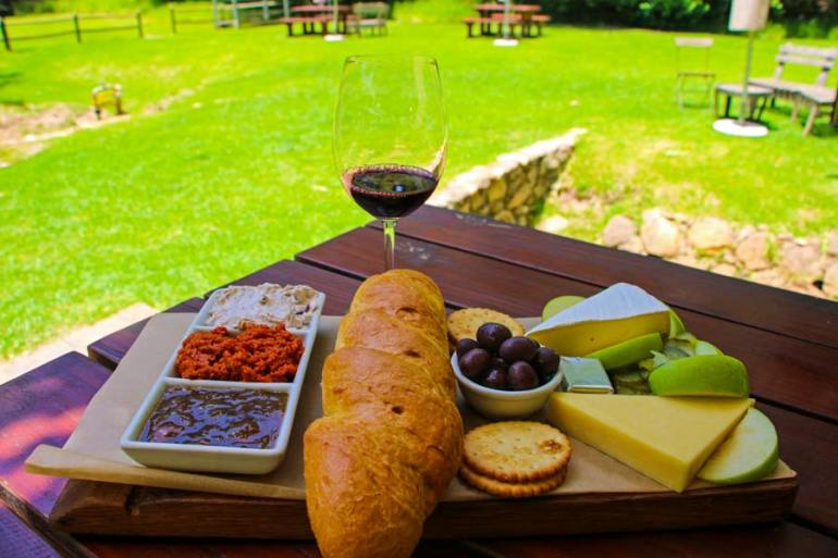 The the Artisan Cheese Platter on the lush lawns of Eagle's nest was one of our favorites.
