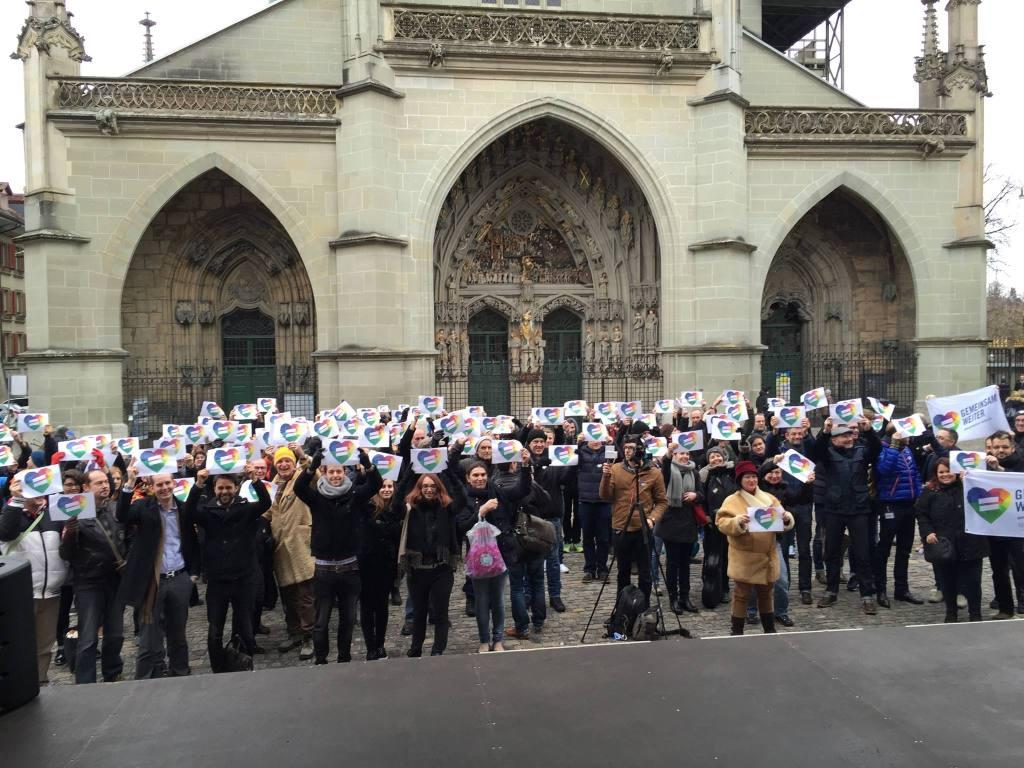 Kundgebung gegen die CVP-Ehe-Initiative