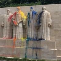 Farbanschlag auf das Reformationsdenkmal in Genf – in den Farben des Regenbogens