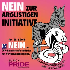 Die Zurich Pride erklärt der CVP-Initiative den Krieg