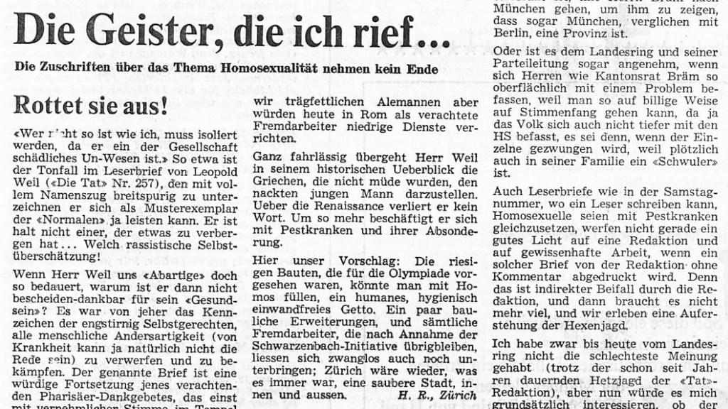 1969: Erster Widerstand gegen Diffamierung