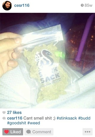 Instagram Review: Cant smell shit ;) #stinksack #budd #goodshit #weed