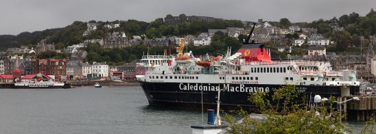 One of many ferries docking at Oban