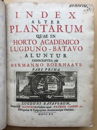 Herman Boerhaave, Index Plantarum, 1720