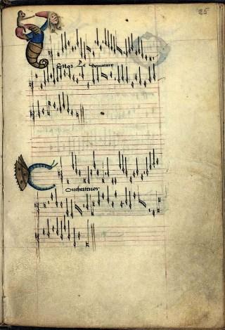 The Copenhagen Chansonnier, Le souvenir de vous my tue, Manuscript p. 25, Coll. Royal Library of Copenhagen.