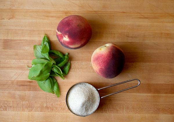 peach basil sorbet and saison beer float // stirandstrain.com