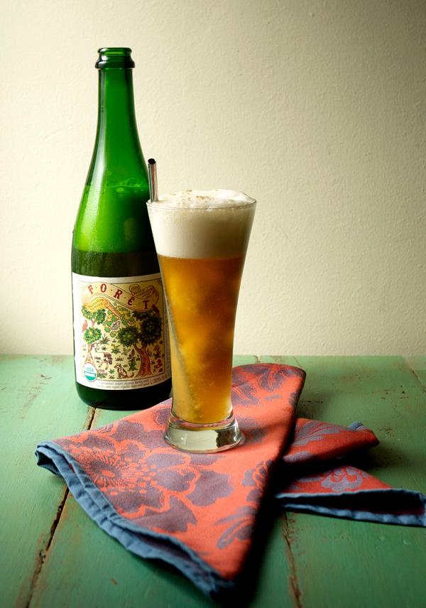 peach basil sorbet and saison beerfloat // stirandstrain.com