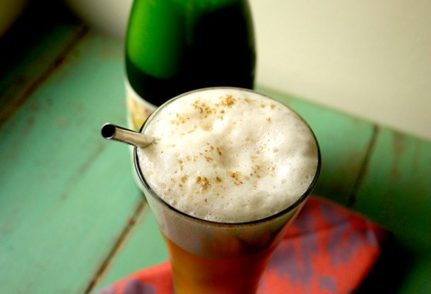peach basil sorbet and saison beer float // stirandstrain.com