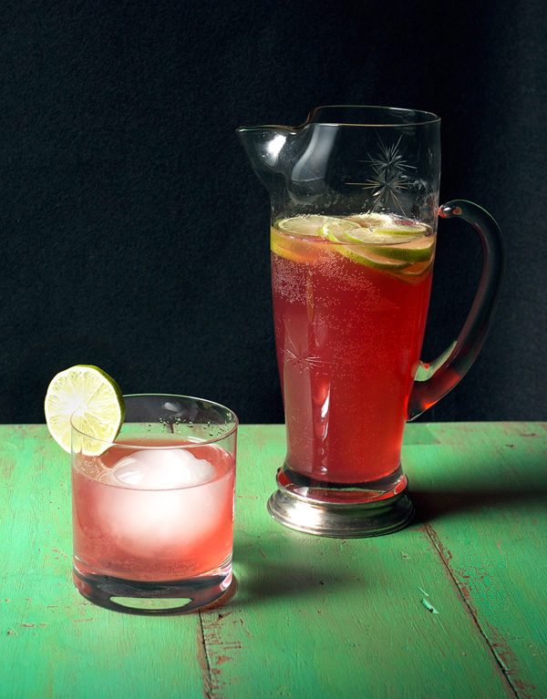 Hibiscus Lime Cooler Pitcher #Cocktail // stirandstrain.com