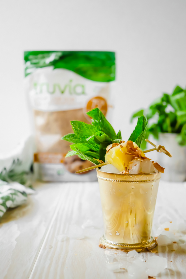 Tropical Toasted Coconut Mint Julep with Truvia // stirandstrain.com