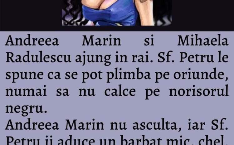 Andreea Marin, Andreea Esca si Mihaela Radulescu ajung in rai. Sf. Petru le spune ca se pot plimba pe oriunde, numai sa nu calce pe norisorul negru.