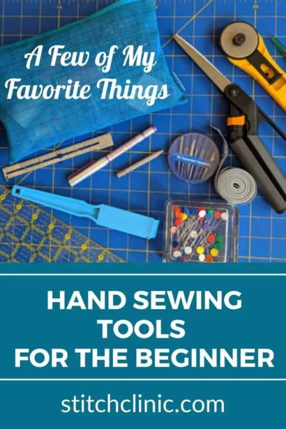 photo of sewing tools for the beginner sewer like pins, scissors, ruler