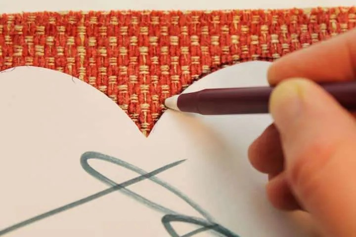 Tracing Heart Shape on Fabric for Garland