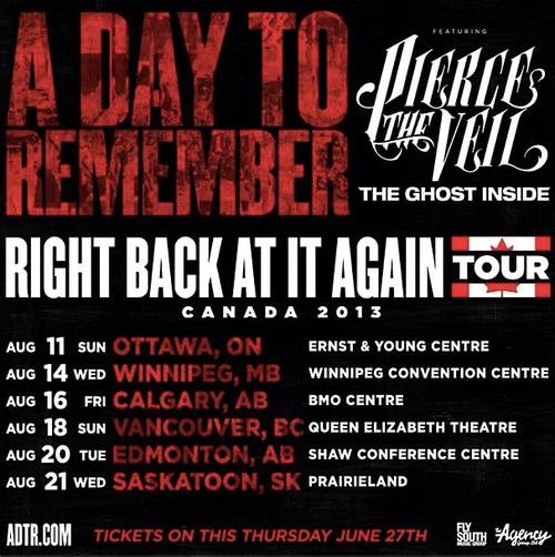 A Day To Remember & Pierce The Veil Announce Canadian Tour