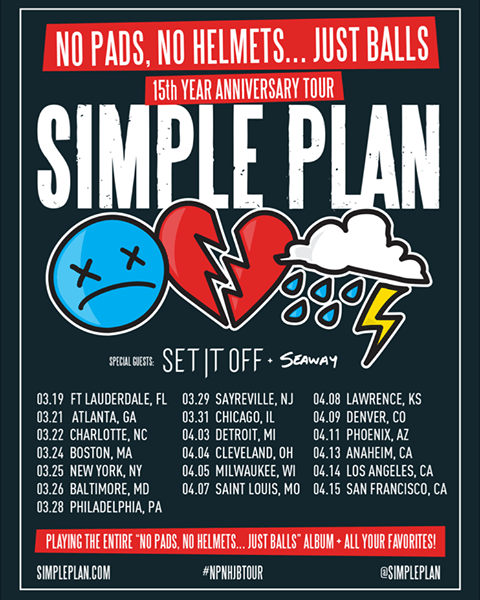Simple Plan announce 15-year anniversary 'No Pads, No Helmets…Just Balls' tour