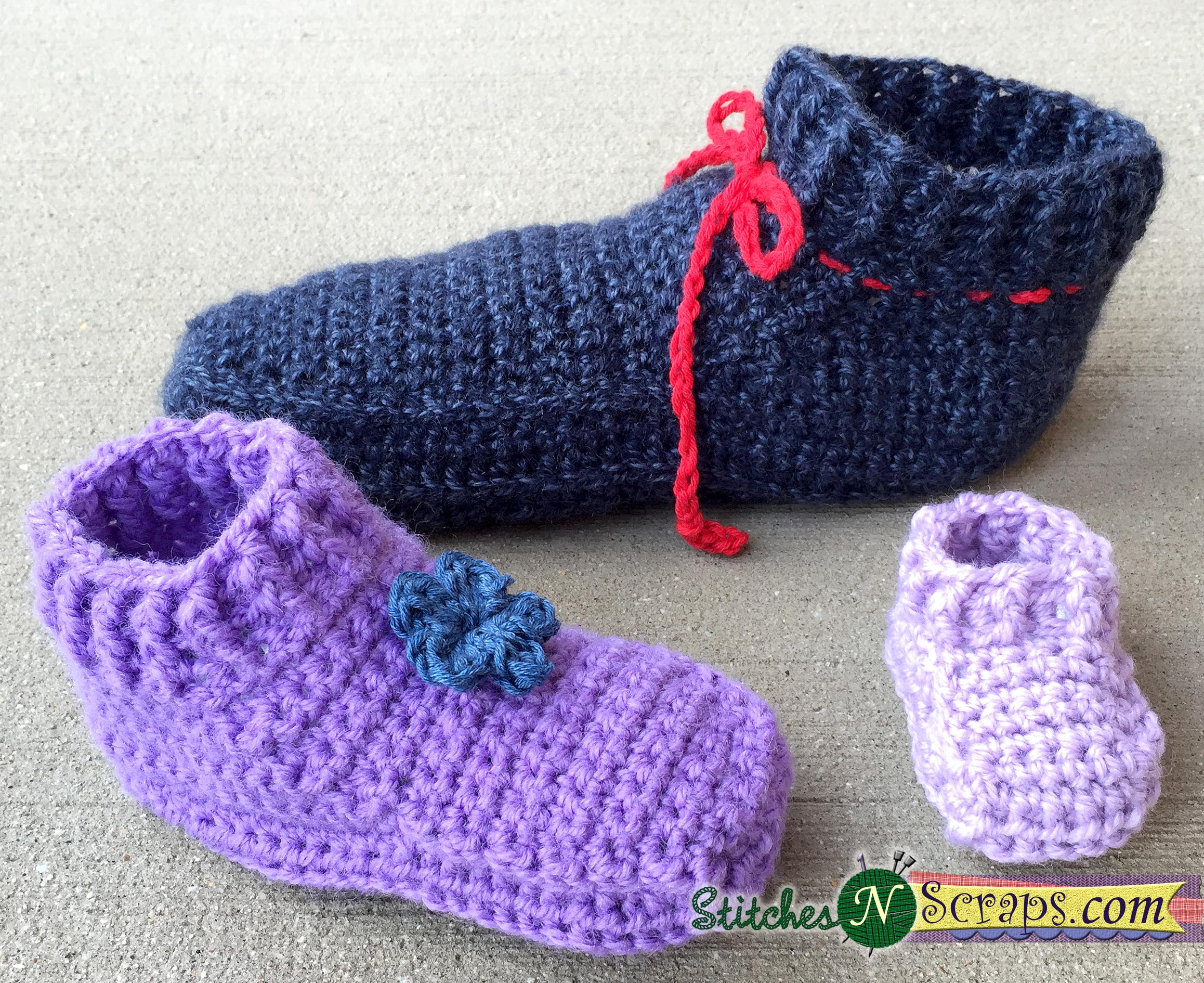 Free Pattern Non Stop Slippers Child Sizes Stitches N Scraps