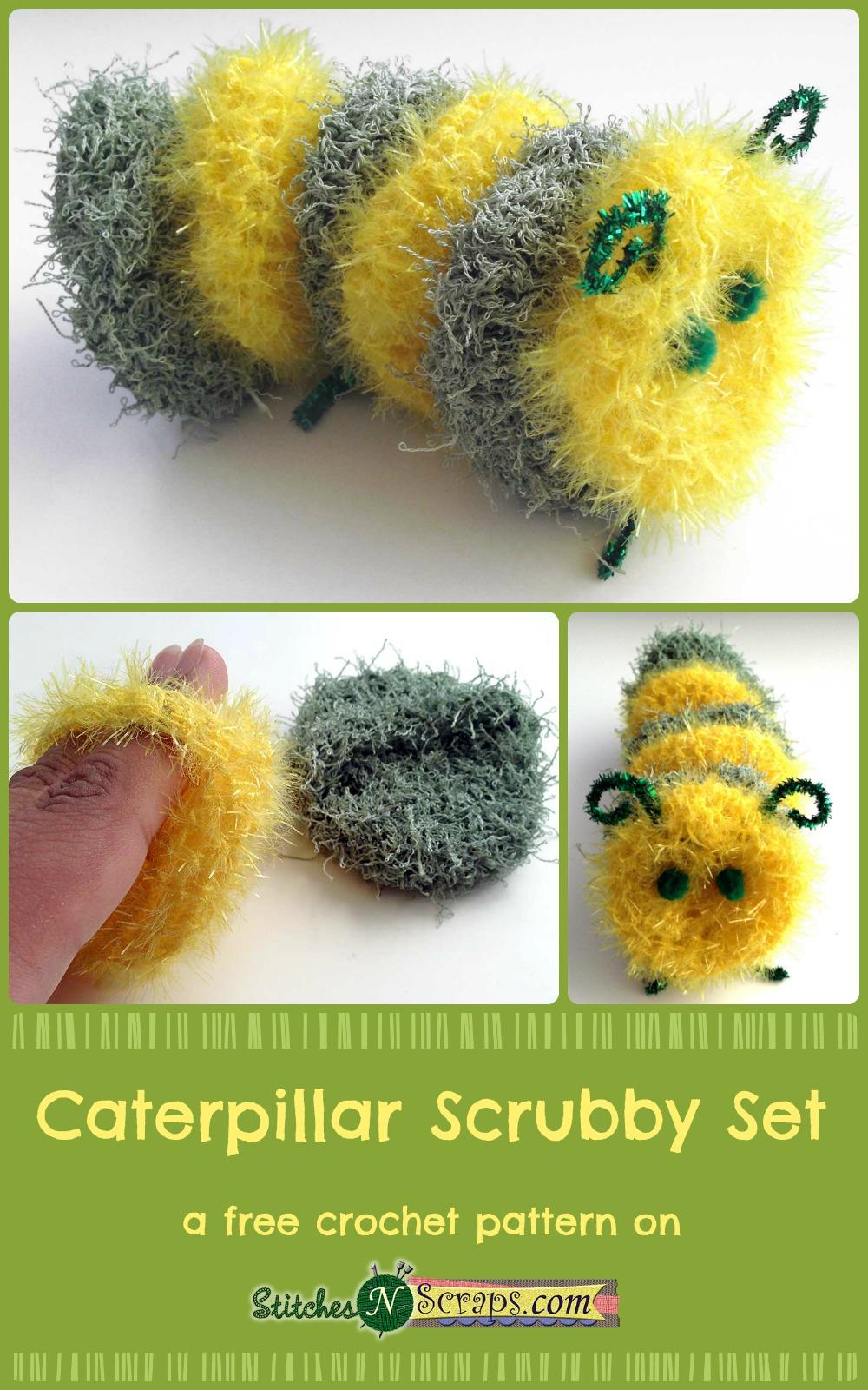 Free Pattern Caterpillar Scrubby Set Stitches N Scraps