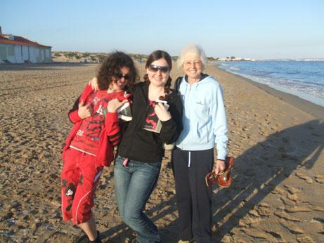 Kids and Granny Pat on La Marina beach