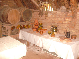 Inside one of the cottages