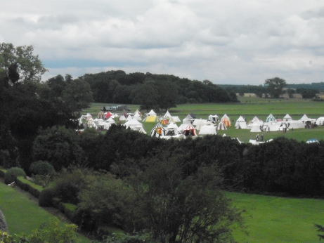The view of the medieval tent enacmpment from the castle