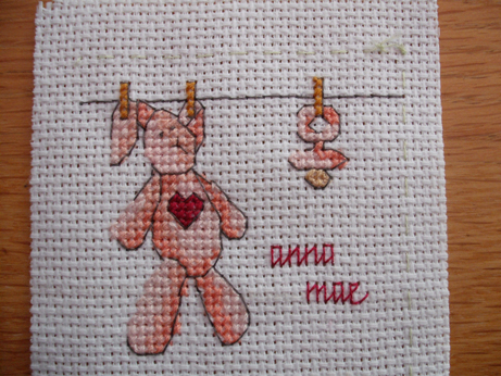 A cute little rabbit and dummy card - Pattern from Cross Stitcher Magazine