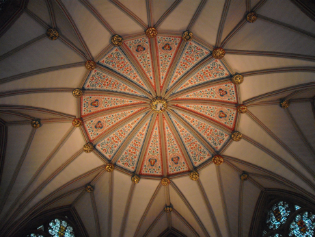 The painted ceiling of the Chapter House