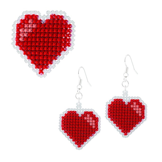 Heart Brooch and Earrings Cross Stitch Kit | STITCHFINITY