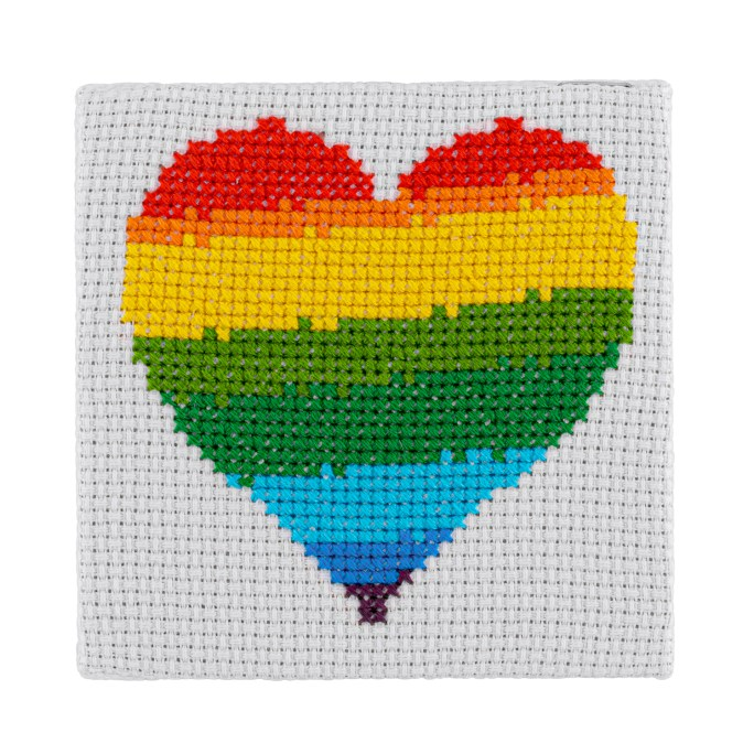 Mini Pride Heart Cross Stitch Kit | STITCHFINITY