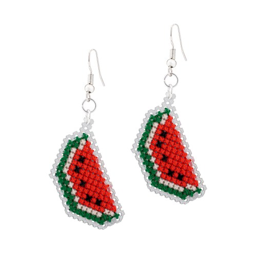 Watermelon Earrings Cross Stitch Kit | STITCHFINITY