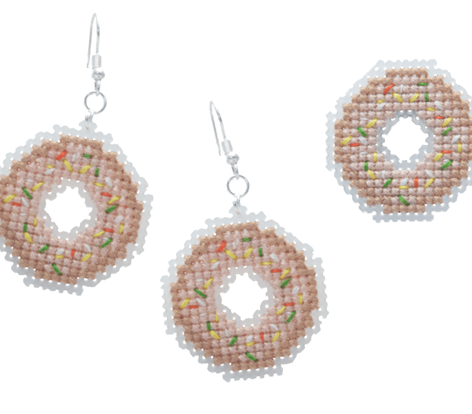 Donut Brooch and Earrings Cross Stitch Kit | STITCHFINITY