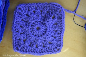 Square of temperature blanket in all lavender due to temperatures not getting over 19