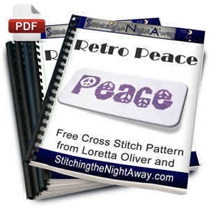 Retro Peace free cross stitch pattern