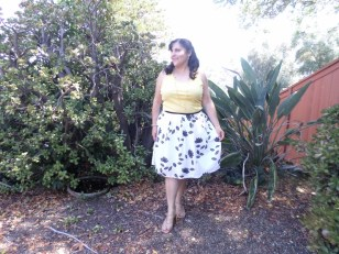 refashioned skirt with foldover elastic and yellow tank