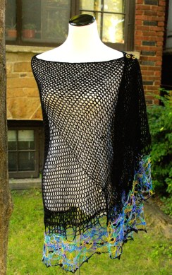 chainmail skull shawl with silk edging