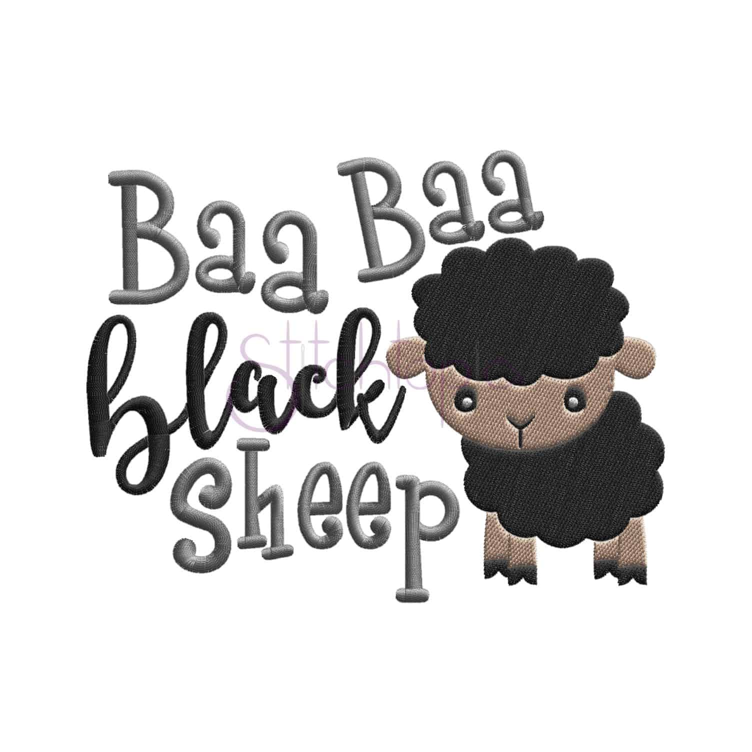 Nursery Rhymes Bah Bah Black Sheep Embroidery Design