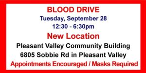 September 28 Blood Drive - Location Changed